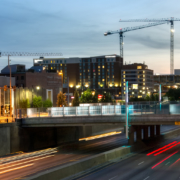Kansas City Hotel Cranes with South Loop Traffic
