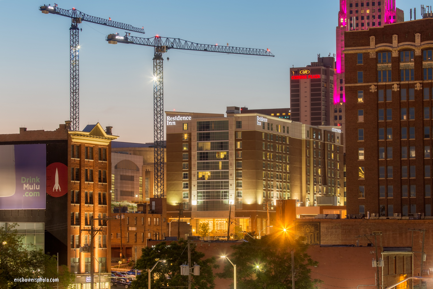 Construction Cranes at Downtown Kansas City Hotel Site