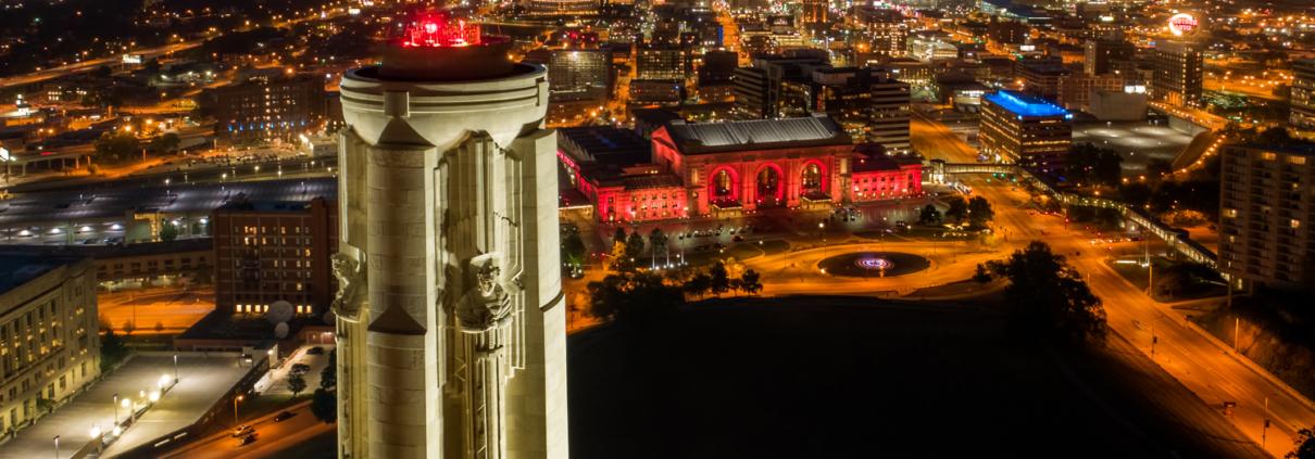 Kansas City Downtown Liberty Memorial Dusk Aerial