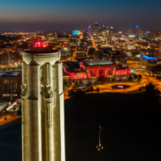 Kansas City Downtown Liberty Memorial Dusk Aerial