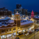 Kansas City Plaza Lights Drone Aerial View