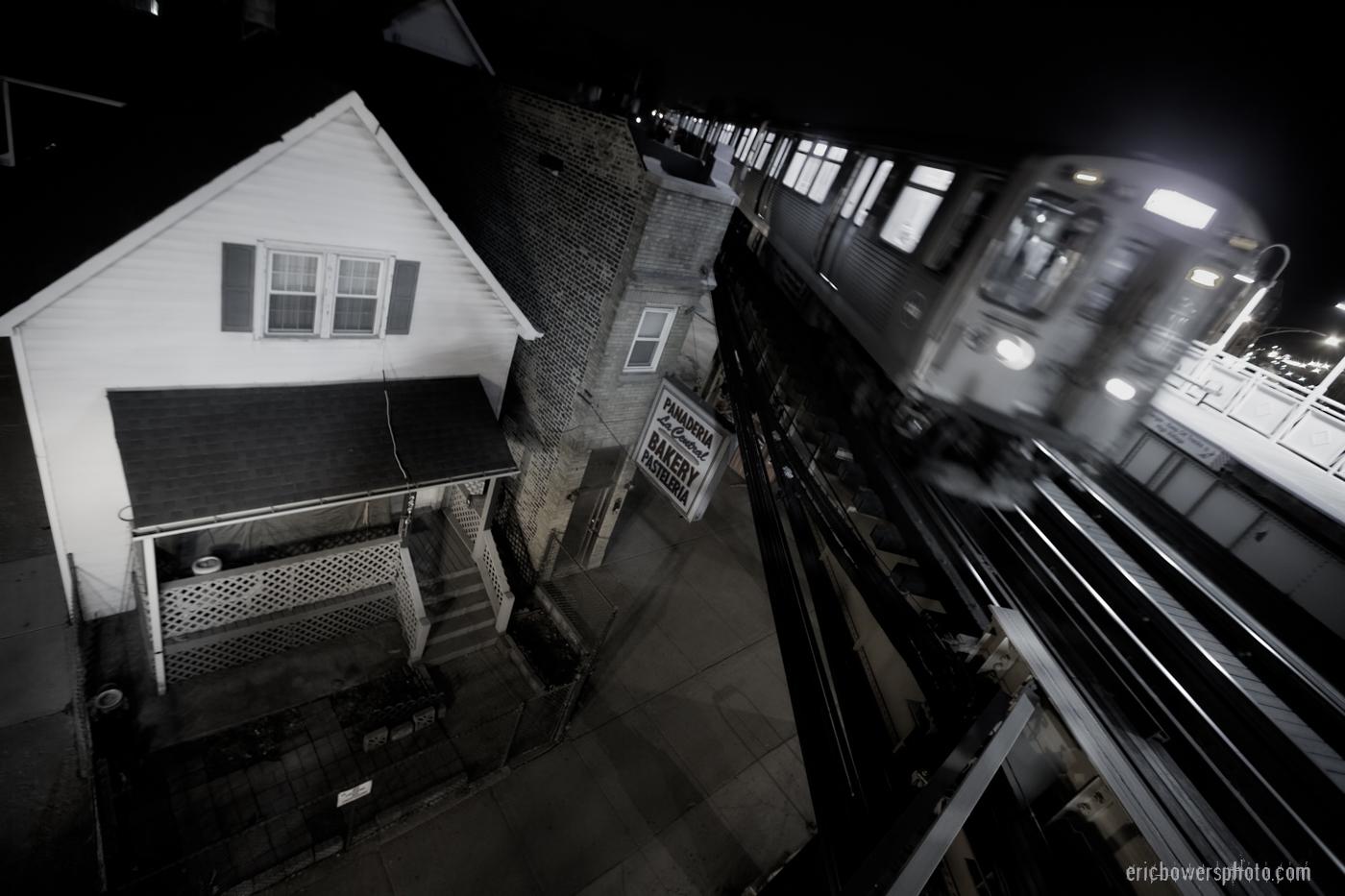 Chicago Blue Line El Train at Logan Square