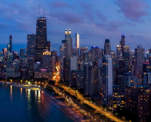 Chicago Dusk Drone View