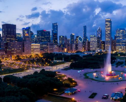 Chicago Skyline with Buckingham Fountain