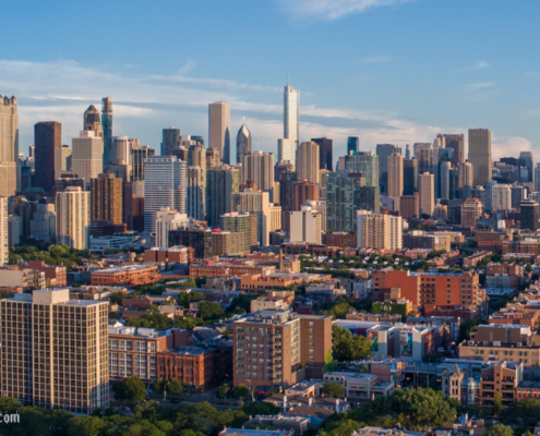 Chicago Loop Skyline Aerial From Old Town
