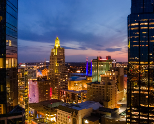 KCMO Highrise Dusk View